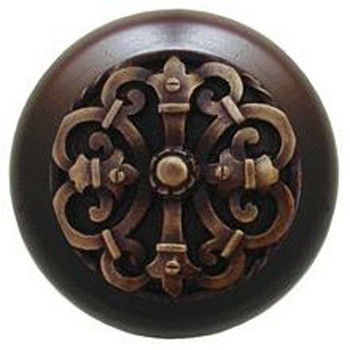 """Notting Hill, Chateau, 1 1/2"""" Round Wood Knob, in Antique Brass with Dark Walnut wood finish"""