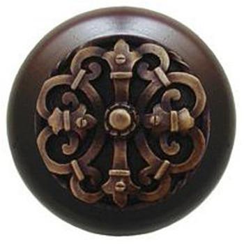 "Notting Hill, Chateau, 1 1/2"" Round Wood Knob, Antique Brass with Dark Walnut Wood Finish"