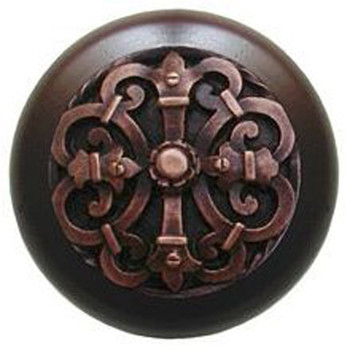 "Notting Hill, Chateau, 1 1/2"" Round Wood Knob, in Antique Copper with Dark Walnut wood finish"