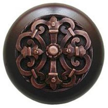 "Notting Hill, Chateau, 1 1/2"" Round Wood Knob, Antique Copper with Dark Walnut Wood Finish"