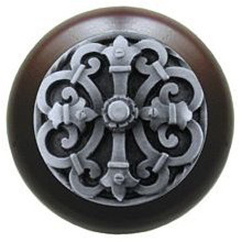 "Notting Hill, Chateau, 1 1/2"" Round Wood Knob, in Antique Pewter with Dark Walnut wood finish"
