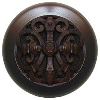 "Notting Hill, Chateau, 1 1/2"" Round Wood Knob, in Dark Brass with Dark Walnut wood finish"