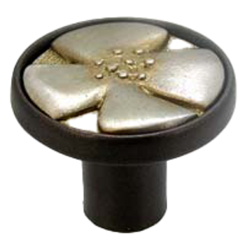 Anne at Home, Bloom Knob - Shown in finish #2.132- Bronze base with Pewter with Bronze insert