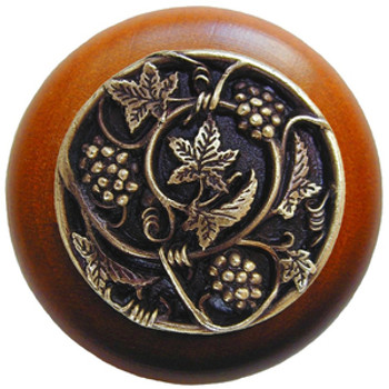 "Notting Hill, Tuscan, Grapevines, 1 1/2"" Round Wood Knob, Antique Brass with Cherry Wood Finish"