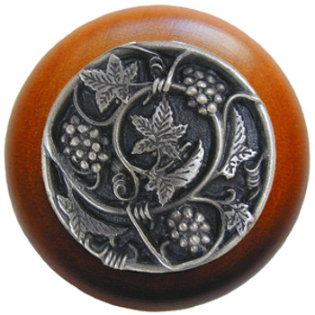 "Notting Hill, Tuscan, Grapevines, 1 1/2"" Round Wood Knob, Antique Pewter with Cherry Wood Finish"