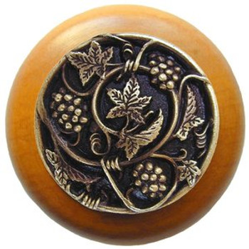 """Notting Hill, Tuscan, Grapevines, 1 1/2"""" Round Wood Knob, Antique Brass with Maple Wood Finish"""
