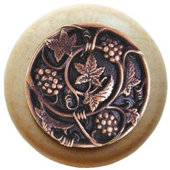 "Notting Hill, Tuscan, Grapevines, 1 1/2"" Round Wood Knob, Antique Copper with Natural Wood Finish"