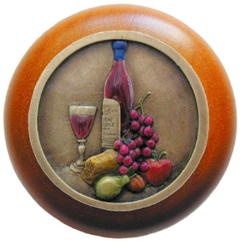 """Notting Hill, Tuscan, Best Cellar, 1 1/2"""" Round Wood Knob, Hand-Tinted Antique Brass with Cherry Wood Finish"""