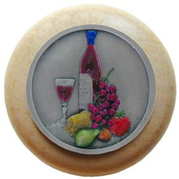 """Notting Hill, Tuscan, Best Cellar, 1 1/2"""" Round Wood Knob, Hand-Tinted Antique Pewter with Natural Wood Finish"""