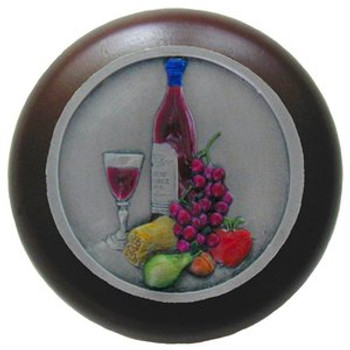 """Notting Hill, Tuscan, Best Cellar, 1 1/2"""" Round Wood Knob, Hand-Tinted Antique Pewter with Dark Walnut Wood Finish"""