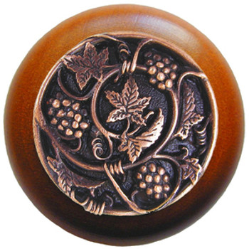 "Notting Hill, Tuscan, Grapevines, 1 1/2"" Round Wood Knob, Antique Copper with Cherry Wood Finish"