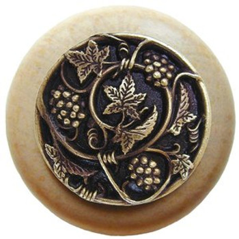 """Notting Hill, Tuscan, Grapevines, 1 1/2"""" Round Wood Knob, Antique Brass with Natural Wood Finish"""