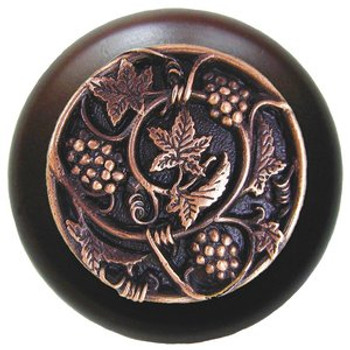"Notting Hill, Tuscan, Grapevines, 1 1/2"" Round Wood Knob, Antique Copper with Dark Walnut Wood Finish"