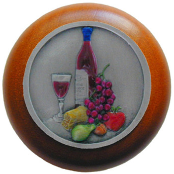 """Notting Hill, Tuscan, Best Cellar, 1 1/2"""" Round Wood Knob, Hand-Tinted Antique Pewter with Cherry Wood Finish"""