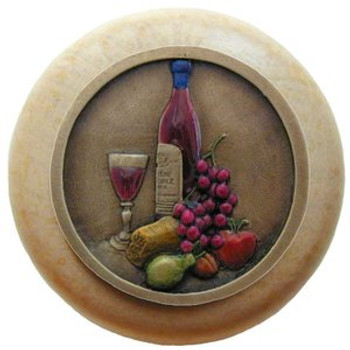 "Notting Hill, Tuscan, Best Cellar, 1 1/2"" Round Wood Knob, Hand-Tinted Antique Brass with Natural Wood Finish"