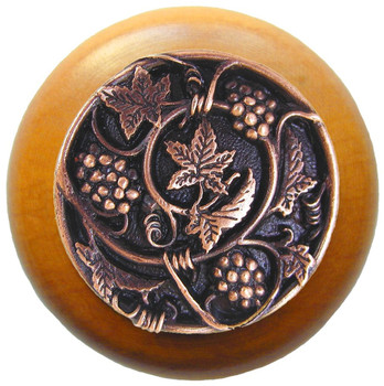 "Notting Hill, Tuscan, Grapevines, 1 1/2"" Round Wood Knob, Antique Copper with Maple Wood Finish"