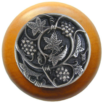 "Notting Hill, Tuscan, Grapevines, 1 1/2"" Round Wood Knob, Antique Pewter with Maple Wood Finish"