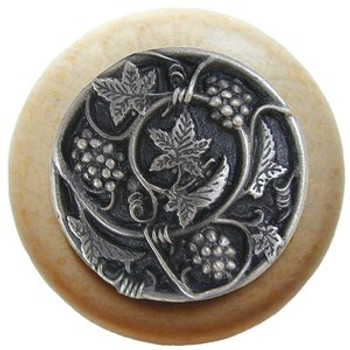 "Notting Hill, Tuscan, Grapevines, 1 1/2"" Round Wood Knob, Antique Pewter with Natural Wood Finish"