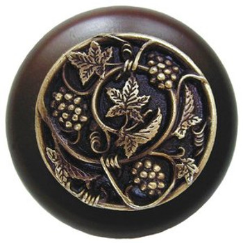 "Notting Hill, Tuscan, Grapevines, 1 1/2"" Round Wood Knob, Antique Brass with Dark Walnut Wood Finish"