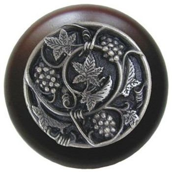 "Notting Hill, Tuscan, Grapevines, 1 1/2"" Round Wood Knob, Antique Pewter with Dark Walnut Wood Finish"