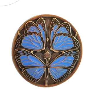 "Notting Hill, Arts and Crafts, Monarch Butterflies, 1 3/8"" Round Knob, Periwinkle Blue Antique Brass"
