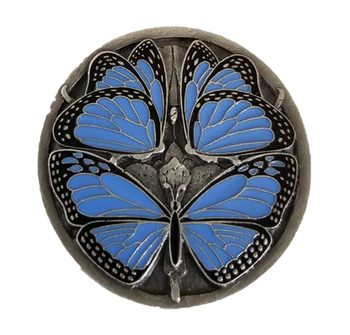 "Notting Hill, Arts and Crafts, Monarch Butterflies, 1 3/8"" Round Knob, Periwinkle Blue Antique Pewter"
