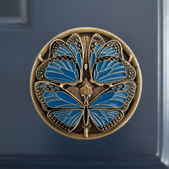 "Notting Hill, Arts and Crafts, Monarch Butterflies, 1 3/8"" Round Knob, Classic Blue Antique Brass installed"