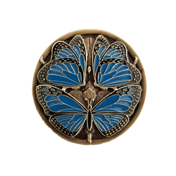 "Notting Hill, Arts and Crafts, Monarch Butterflies, 1 3/8"" Round Knob, Classic Blue Antique Brass"