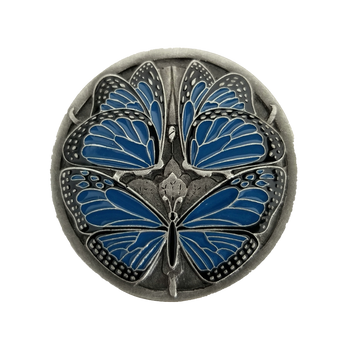"Notting Hill, Arts and Crafts, Monarch Butterflies, 1 3/8"" Round Knob, Classic Blue Antique Pewter"