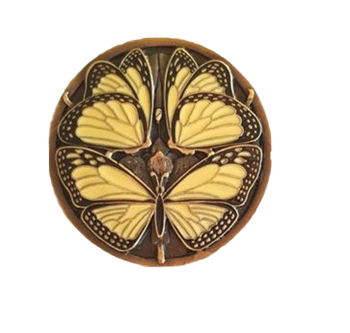 "Notting Hill, Arts and Crafts, Monarch Butterflies, 1 3/8"" Round Knob, Yellow Antique Brass"