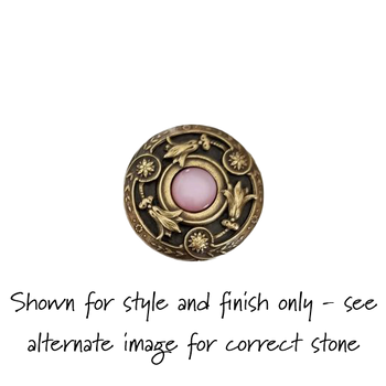 """Notting Hill, Jewels, Jeweled Lily, 1 3/8"""" Round Knob, Antique Brass with Pink Cat's Eye - SHOWN WITH PINK SHELL"""