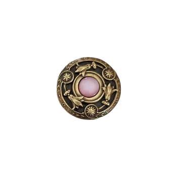 """Jewels, Jeweled Lily, 1 3/8"""" Round Knob, Antique Brass with Pink Shell"""