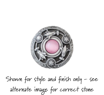 """Notting Hill, Jewels, Jeweled Lily, 1 3/8"""" Round Knob, Antique Pewter with Pink Cat's Eye - SHOWN IN ANTIQUE PEWTER WITH PINK SHELL"""