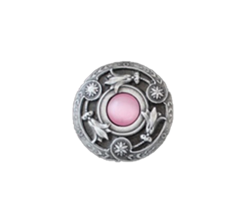 """Notting Hill, Jewels, Jeweled Lily, 1 3/8"""" Round Knob, Antique Pewter with Pink Shell"""