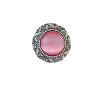 """Notting Hill, Jewels, Victorian Jewel, 1 5/16"""" Round Knob, Antique Pewter with Pink Cat's Eye"""