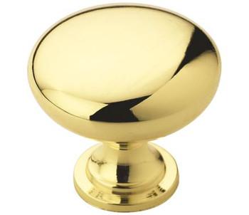 "Amerock, Edona, 1 1/4"" Round Knob, Polished Brass"