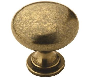 "Amerock, Edona, 1 1/4"" Round Knob, Burnished Brass"