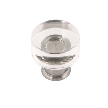 """Belwith Hickory, Midway, 1"""" Round Knob, Clear Crysacrylic with Satin Nickel"""