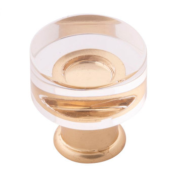 """Belwith Hickory, Midway, 1"""" Round Knob, Clear Crysacrylic with Brushed Golden Brass"""