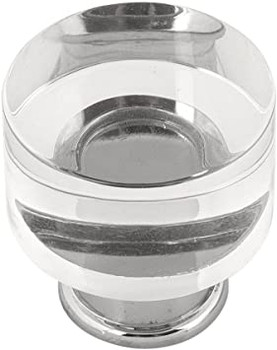 """Belwith Hickory, Midway, 1 1/4"""" Round Knob, Clear Crysacrylic with Chrome"""