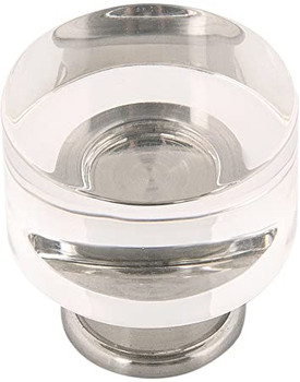 """Belwith Hickory, Midway, 1 1/4"""" Round Knob, Clear Crysacrylic with Satin Nickel"""