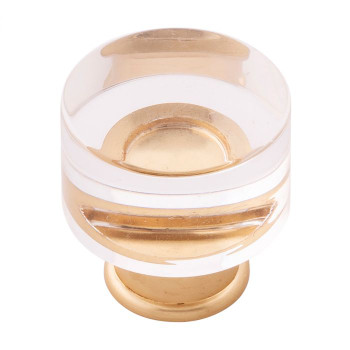 """Belwith Hickory, Midway, 1 1/4"""" Round Knob, Clear Crysacrylic with Brushed Golden Brass"""