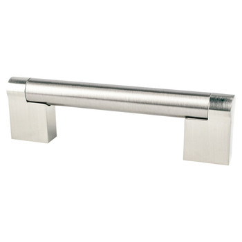 "Berenson, Contemporary Advantage Three, 3 3/4"" (96mm) Straight Pull, Brushed Nickel"