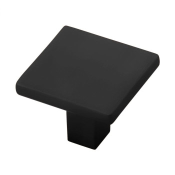 "Belwith Hickory, Skylight, 1 1/4"" Square Knob, Matte Black"