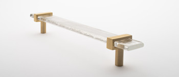 """Sietto, Adjustable, Straight Pull, 9"""" Overall Length, Clear with Satin Brass Base, angle 2"""