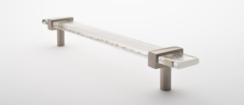 """Sietto, Adjustable, Straight Pull, 9"""" Overall Length, Clear with Satin Nickel Base, angle 2"""