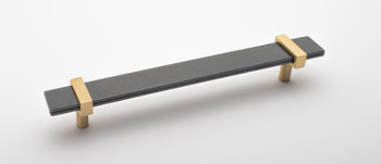 """Sietto, Adjustable, Straight Pull, 9"""" Overall Length, Slate Grey with Satin Brass Base"""