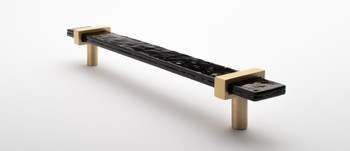 """Sietto, Adjustable, Straight Pull, 9"""" Overall Length, Slate Grey with Satin Brass Base, angle 2"""