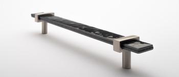 "Sietto, Adjustable, Straight Pull, 9"" Overall Length, Slate Grey with Satin Nickel Base, angle 2"