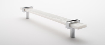 """Sietto, Adjustable, Straight Pull, 9"""" Overall Length, White with Polished Chrome Base, angle 2"""